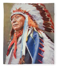 Chief Hollow Horn Bear Fleece Blanket