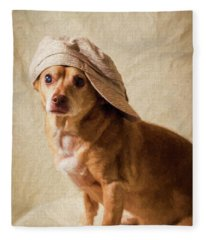 Chihuahua In A Newsboy Hat Fleece Blanket