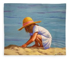 Child Playing In The Sand Fleece Blanket