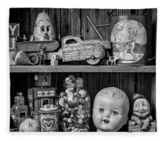 Childhood Toys On Old Shelf Fleece Blanket