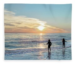 Children At Play On A Florida Beach  Fleece Blanket