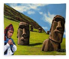 Chile Easter Island Fleece Blanket