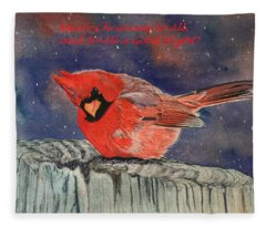 Chilly Bird Christmas Card Fleece Blanket