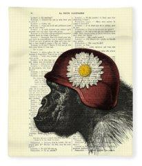 Chimpanzee With Helmet Daisy Flower Dictionary Art Fleece Blanket