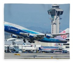 China Airlines Boeing 747 Dreamliner Lax Fleece Blanket
