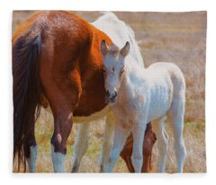 Chincoteague Mare And Foal Fleece Blanket