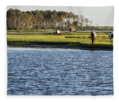 Chincoteague Ponies On Assateague Island Fleece Blanket