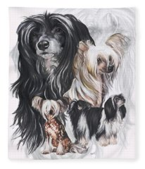 Chinese Crested And Powderpuff Medley Fleece Blanket