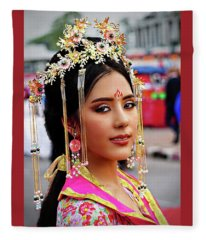 Chinese Cultural Fashion Girl Fleece Blanket