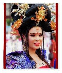 Chinese Festive Fashion Girl Fleece Blanket
