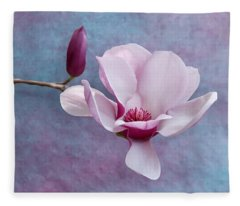 Chinese Magnolia Flower With Bud Fleece Blanket