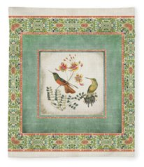 Chinoiserie Vintage Hummingbirds N Flowers 1 Fleece Blanket