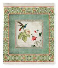 Chinoiserie Vintage Hummingbirds N Flowers 2 Fleece Blanket