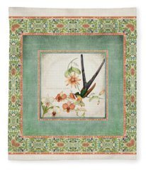 Chinoiserie Vintage Hummingbirds N Flowers 3 Fleece Blanket