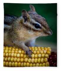 Chipmunk Goes Wild For Corn Fleece Blanket