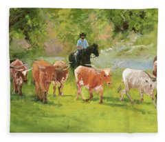Chisholm Trail Texas Longhorn Cattle Drive Oil Painting By Kmcelwaine Fleece Blanket
