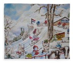 Tutelage Trumped Tuition At Upsy Daisy Ski School.              Chloe The Flying Lamb Productions  Fleece Blanket