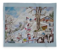 Tutelage Trumped Tuition At Upsy Daisy Ski School.              Chloe The Flying Lamb Productions  Fleece Blanket