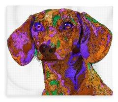 Fleece Blanket featuring the digital art Chloe. Pet Series by Rafael Salazar