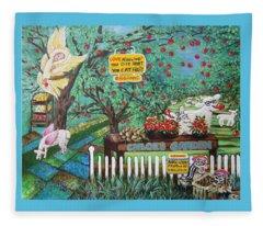 Chloe The Flying Lamb Productions    Bountiful Bites Grip Bouncing Apples Fleece Blanket