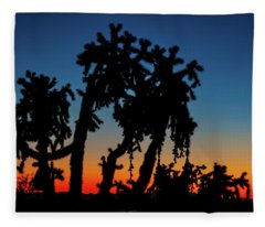 Fleece Blanket featuring the photograph Cholla Silhouettes by Rick Furmanek