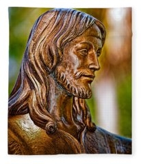 Christ In Bronze Fleece Blanket