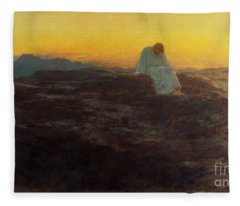 Christ In The Wilderness Fleece Blanket