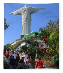 Christ The Redeemer  Fleece Blanket