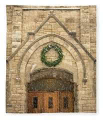 Christmas At Stone Chapel Fleece Blanket