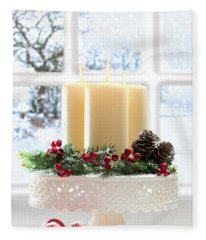Christmas Candles Display Fleece Blanket