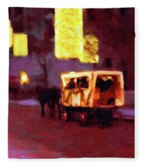 Christmas Carriage Ride In Vienna Fleece Blanket