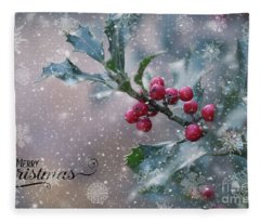 Christmas Holly Fleece Blanket