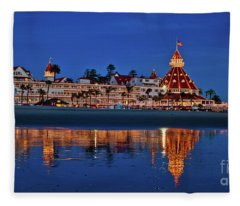 Christmas Lights At The Hotel Del Coronado Fleece Blanket