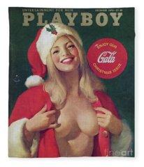 Christmas Playboy Vintage Cover Fleece Blanket