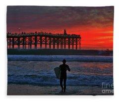 Christmas Surfer Sunset Fleece Blanket