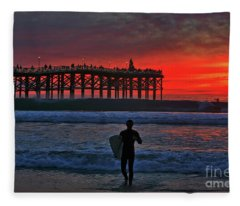 Christmas Surfer Sunset Fleece Blanket