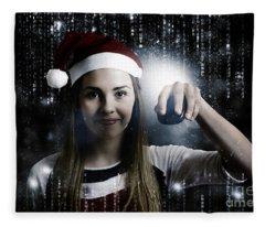 Christmas Technology Woman Shopping Online Fleece Blanket