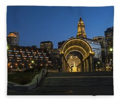 Christopher Columbus Park Boston Ma Trellis Custom House Fleece Blanket
