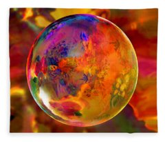 Chromatic Floral Sphere Fleece Blanket