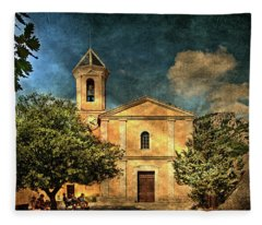 Church In Peillon Fleece Blanket