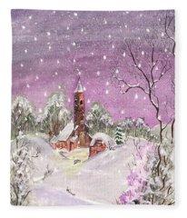 Church In The Snow Fleece Blanket
