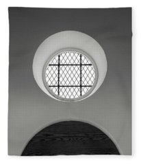 Church Window In Black And White Fleece Blanket