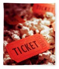 Cinema Ticket On Snackbar Food Fleece Blanket