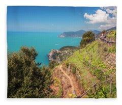 Cinque Terre Italy Vineyard Walk Fleece Blanket