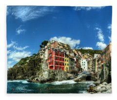 Cinque Terre - View Of Riomaggiore Fleece Blanket