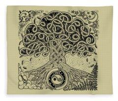 Circle Celtic Tree Of Life Inked Fleece Blanket