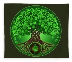 Circle Celtic Tree Of Life Fleece Blanket