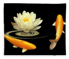 Circle Of Life - Koi Carp With Water Lily Fleece Blanket