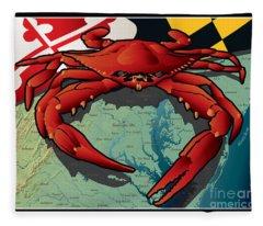 Citizen Crab Of Maryland Fleece Blanket