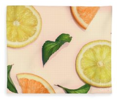 Citrus Pattern On Retro Pink Background Fleece Blanket